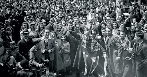 A Montrealer wraps himself in the Union Jack. [LAC/PA-152318]