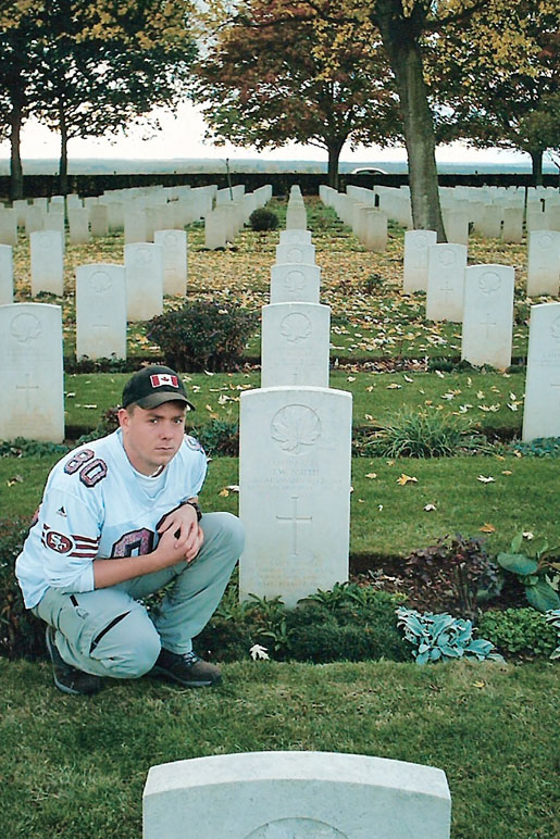 Cody Smith visited the grave of his grandfather, Lance-Corporal John (Jack) Weakford Smith, in the Canadian War Cemetery at Bretteville-sur-Laize, France, in 2003.