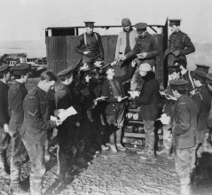 Canadians on Salisbury Plain, receiving their Christmas Cards.  1914-1919