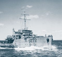 HMCS Esquimalt (J 272)  Minesweeper of the Bangor class  NavyThe Royal Canadian Navy   TypeMinesweeper   ClassBangor    PennantJ 272   Built byMarine Industries Ltd. (Sorel, Quebec, Canada)   Ordered   Laid down20 Dec 1940   Launched8 Aug 1941   Commissioned26 Oct 1942   Lost16 Apr 1945   Loss position44.28N, 63.10W (See a map)      HistoryHMCS Escquimalt (Lt. Robert Cunningham MacMillan, DSC and Bar, RCNVR) was torpedoed and sunk on 16 April 1945 by U-190, five miles off Chebucto Head, near Halifax, Canada in position 44º28'N, 63º10'W.  44 of the crew were lost with the ship and 26 of the crew survived the sinking.      Hit by U-boat  Sunk on 16 Apr 1945 by U-190 (Reith).