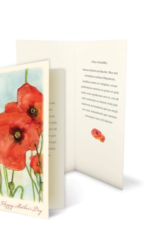 Open greeting card standing on floor with shadow, isolated on wh