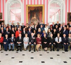 GG01-2016-0113-059 April 12, 2016 Rideau Hall, Ottawa, Canada.  His Excellency the Right Honourable David Johnston, Governor General of Canada, presided over the inaugural presentation ceremony of the Sovereignís Medal for Volunteers on Tuesday, April 12, 2016, at Rideau Hall.The new medal was presented to 55 Canadians to recognize exceptional volunteer achievements in a wide range of fields.  Credit: Sgt Ronald Duchesne, Rideau Hall, OSGG