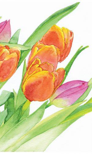 TulipsOrangePinkPaintingsVertical