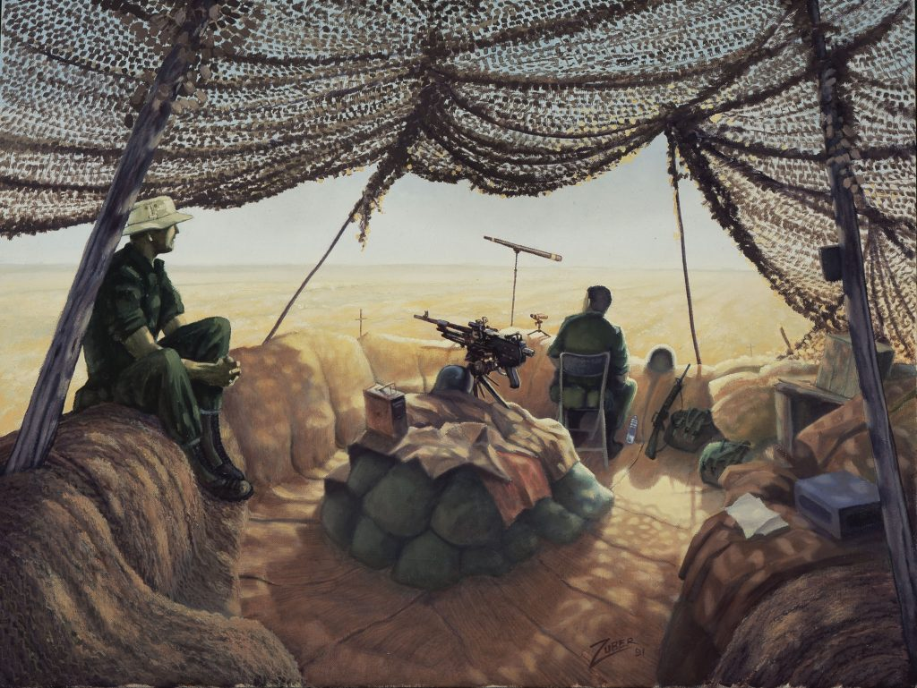 "Canadian troops keep watch in Ted Zuber's 1991 painting, ""Long Day at Doha."""