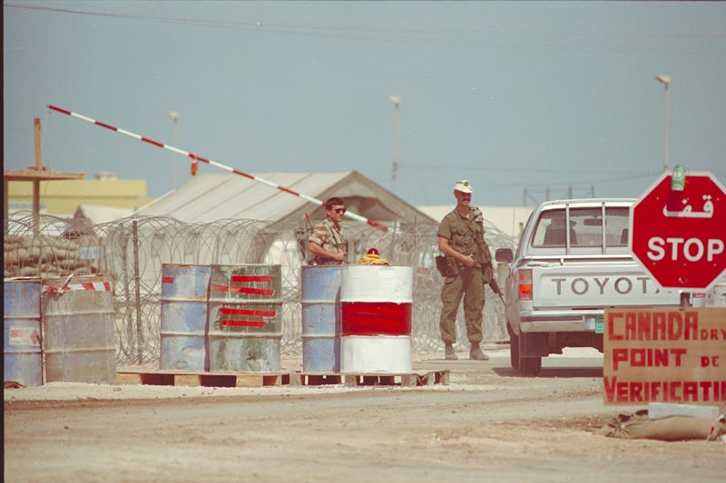 Main Entrance to the 'Canada Dry 2' base in Qatar. February 21, 1991.