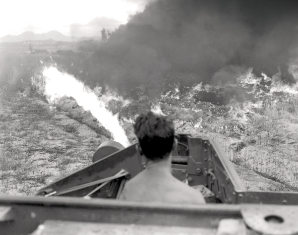 Fire streams from a Wasp in June 1951
