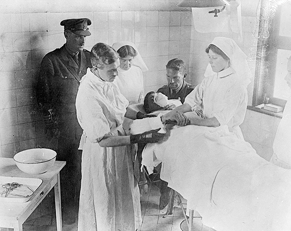A soldier is operated on