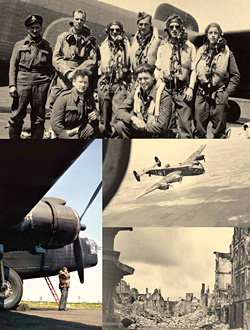 Clockwise from top: A Halifax bomber crew poses for a photo during the late stages of the war; a Halifax B. Mk. I of 405 Sqdn.; the bomb-battered town of Cleve, Germany; a Canadian crewman stands beneath a Wellington bomber. [PHOTOS: HALIFAX RESTORATION TEAM, TRENTON, ONT.; CANADIAN FORCES—PL10457; LIBRARY AND ARCHIVES CANADA—38662; CANADIAN FORCES—PC2475]